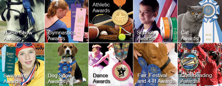 Horse Show Awards, Gymnastics Awards, Sports Awards, School Awards, Cat Show Awards, Swimming Awards, Dog Show Awards, Dance Awards, Fair Awards, Festival Awards, 4-H Awards, Cheerleading Awards