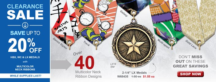 Up to 20% off select Medals with Multicolor Neck Ribbons