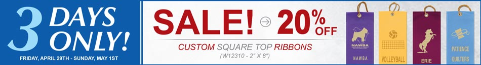 3 Days only 20% Off Square Top Ribbons
