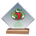 Full Color Diamond Acrylic Swimming Award w/ Walnut Base