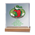 Full Color Square Acrylic Swimming Award w/ Walnut Base