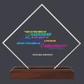 Diamond Acrylic Award Trophy w/ Walnut Base