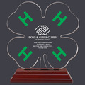 Engraved Clover Shaped w/ Green H's Acrylic Award Trophy