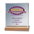 Full Color Square Acrylic Gymnastics Award w/ Walnut Base