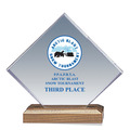 Full Color Diamond Acrylic Dog Show Award w/ Walnut Base