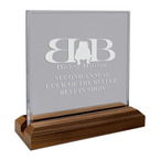 Engraved Square Acrylic Dog Show Award w/ Walnut Base