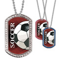 Full Color Soccer Ball GEM Dog Tags