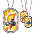 Full Color Softball Torch GEM Dog Tags