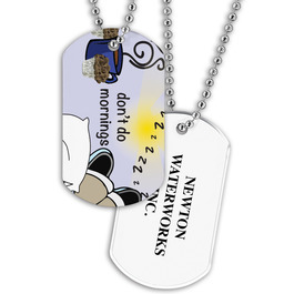 Dog Tag w/ Fun at Work Stock Designs & Print on Back