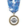 LFL Full Color Award Medal w/ Multicolor Neck Ribbon