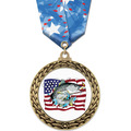 GFL Full Color Award Medal w/ Multicolor Neck Ribbon