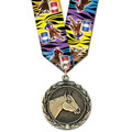 HBX Horse Show Award Medal w/ MulticolorNeck Ribbon