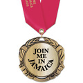 XBX Metallic Award Medal w/ Satin Neck Ribbon