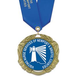 XBX Full Color Award Medal w/ Satin Neck Ribbon