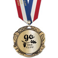 XBX Metallic Award Medal w/ Specialty Satin Neck Ribbon