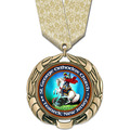 XBX Full Color Award Medal w/ Multicolor Neck Ribbon