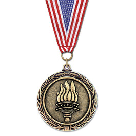 LX Medal w/ Red/White/Blue or Flag Grosgrain Neck Ribbon