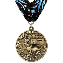 Stock WC Winner's Circle Award Medal w/ Full Color Millennium Neck Ribbon