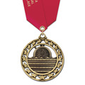Star Award Medal w/ Satin Neck Ribbon