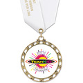 ST14 Star Full Color Award Medal w/ Satin Neck Ribbon