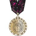ST14 Star Metallic Award Medal w/ Multicolor Neck Ribbon