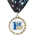 ST14 Star Full Color Award Medal w/ Millennium Neck Ribbon