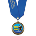 LFL Full Color Award Medal w/ Satin Neck Ribbon