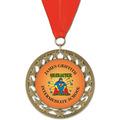 RS14 Full Color Award Medal w/ Grosgrain Neck Ribbon