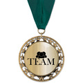 RS14 Metallic Award Medal w/ Grosgrain Neck Ribbon