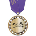 RS14 Metallic Award Medal w/ Satin Neck Ribbon