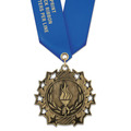 Ten Star Award Medal with Satin Neck Ribbon