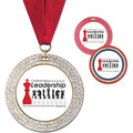 GEM Full Color Award Medal w/ Grosgrain Neck Ribbon