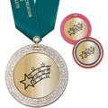 GEM Metallic Award Medal w/ Satin Neck Ribbon