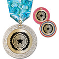 GEM Metallic Award Medal w/ Multicolor Neck Ribbon