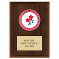 GEM Full Color Medal Award Plaque - Cherry Finish