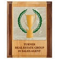 Full Color Award Plaque - Red Alder & Walnut w/ Tumbled Stone Tile