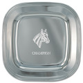 Engraved Silver Tray w/ Horse Stock Logo & Place