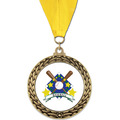 GFL Full Color Baseball Award Medal w/ Grosgrain Neck Ribbon
