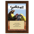 "5"" x 7"" Full Color Softball Plaque - Cherry Finish"