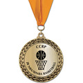 GFL Metallic Basketball Award Medal w/ Grosgrain Neck Ribbon