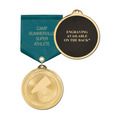 Brite Laser Medal w/ Any Satin Drape Ribbon - ENGRAVED