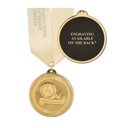 BRITE LASER MEDAL W/ SATIN NECK RIBBON