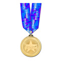 Brite Laser Medal w/ Any Multicolor Neck Ribbon
