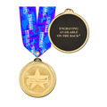 Brite Laser Medal w/ Any Multicolor Neck Ribbon- ENGRAVED