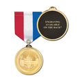 Brite Laser Medal w/ Any Specialty Satin Drape Ribbon - ENGRAVED