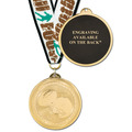 Brite Laser Football Medal w/ Any Grosgrain Neck Ribbon - ENGRAVED