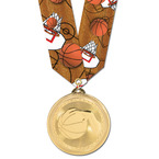 Brite Laser Basketball Medal w/ Any Multicolor Neck Ribbon