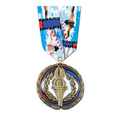COLORED EPOXY MEDAL W/ MULTICOLOR NECK RIBBON