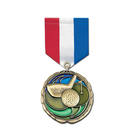 Colored Epoxy Medal w/ Any Specialty Satin Drape Ribbon