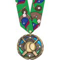 Colored Epoxy Baseball Medal w/ Any Multicolor Neck Ribbon